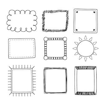 Doodle frame ornament pack estilo desenhado à mão