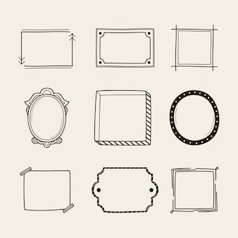 Doodle frame ornament set hand drawn style