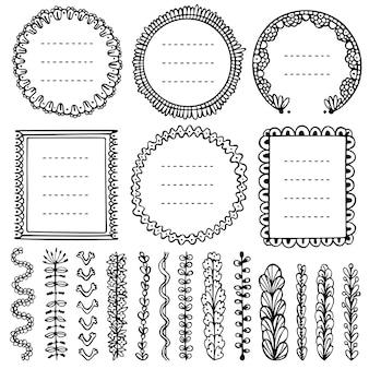 Doodle frames, vinhetas e divisórias para bullet journal, notebook, diário