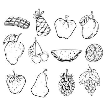 Doodle frutas conjunto com cor preto e branco