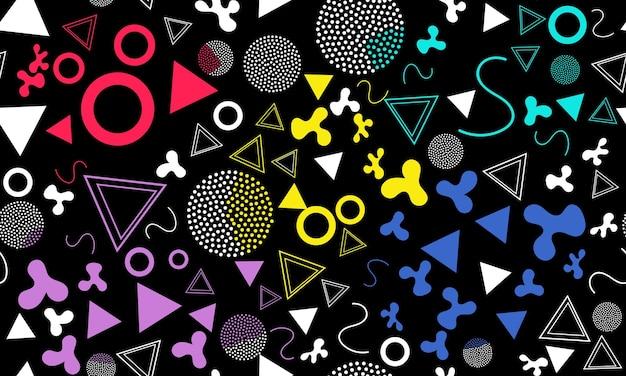 Doodle fun background. padrão sem emenda. pano de fundo do doodle do verão. seamless 90s. padrão de memphis. ilustração vetorial. estilo moderno dos anos 80-90. fundo funky colorido abstrato.