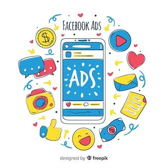 Doodle fundo de anúncios do facebook