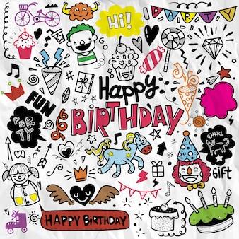 Doodle fundo de festa de aniversário, elemento de aniversário de desenho à mão