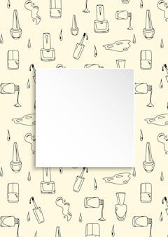 Doodle fundo de manicure com moldura quadrada, conceito de moda e maquiagem