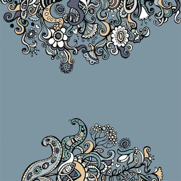 Doodle fundo floral com lugar para o texto