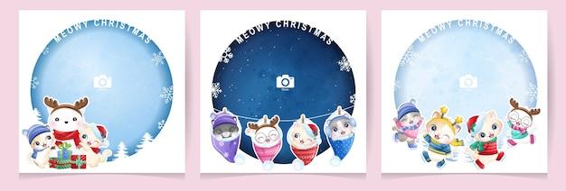 Doodle gatinho fofo para o dia de natal com coleção de moldura de foto