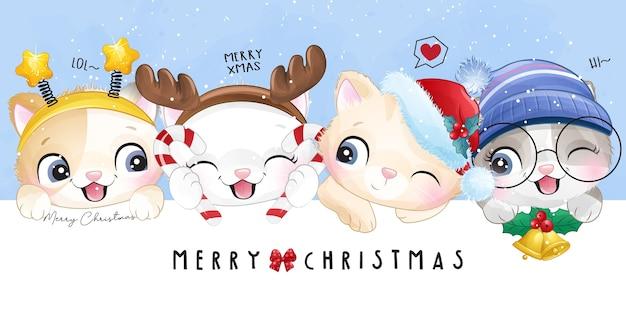 Doodle gatinho fofo para o dia de natal com ilustração em aquarela