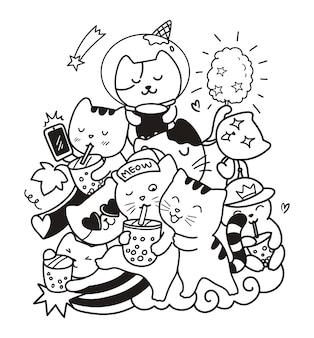 Doodle gato boba Vetor Premium