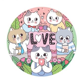 Doodle gatos bonitos dos desenhos animados e beber quadro de círculo de café