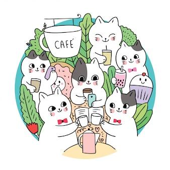 Doodle gatos bonitos dos desenhos animados e café círculo vector.