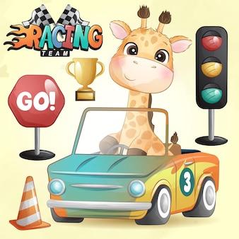 Doodle girafa fofa com ilustração de carro de corrida