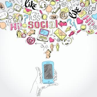 Doodle hand holding mobile smartphone com blog social media e comunicação aplicações símbolos ilustração vetorial