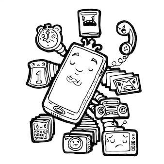 Doodle handphone desenhado mão está no controle de todos os dispositivos de mídia
