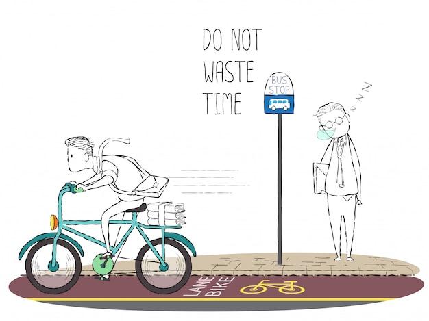 Doodle homem andar de bicicleta e homem no ponto de ônibus