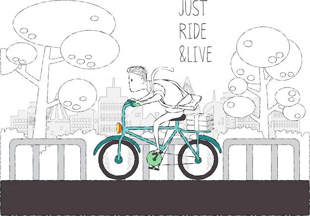 Doodle homem andar de bicicleta no parque