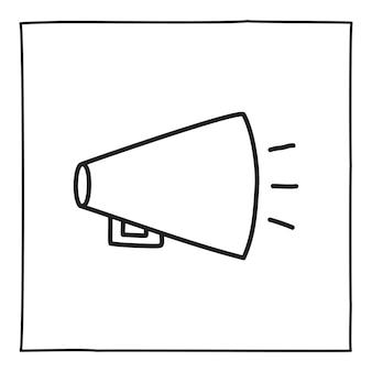 Doodle ícone de alto-falante ou logotipo, desenhado à mão com uma linha preta fina. isolado em um fundo branco. ilustração vetorial