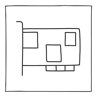 Doodle ícone de cartão de memória de computador desenhado à mão com uma linha preta fina
