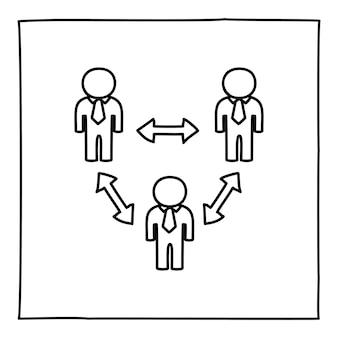 Doodle ícone de conexão de pessoas ou logotipo, desenhado à mão com uma linha preta fina.