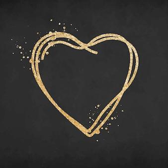 Doodle ícone de coração, vetor gráfico de elemento de ouro brilhante