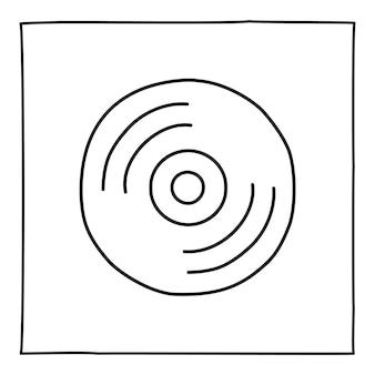 Doodle ícone de disco de cd de computador desenhado à mão com uma linha preta fina