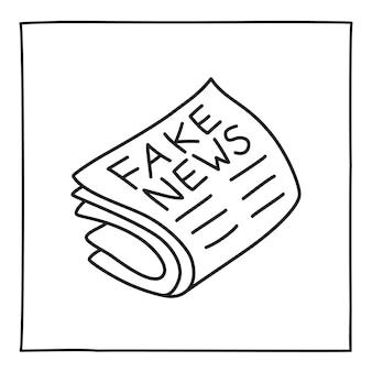 Doodle ícone ou logotipo de notícias falsas, desenhado à mão com uma linha preta fina. isolado em um fundo branco. ilustração vetorial