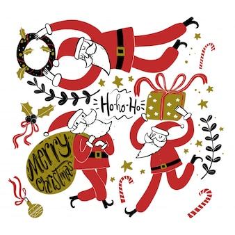 Doodle ícones da estação do natal e elementos gráficos do vintage. efeito de quadro-negro.