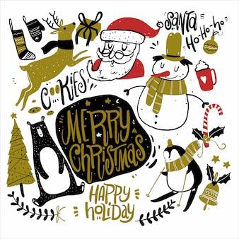 Doodle ícones da estação do natal e elementos gráficos do vintage.