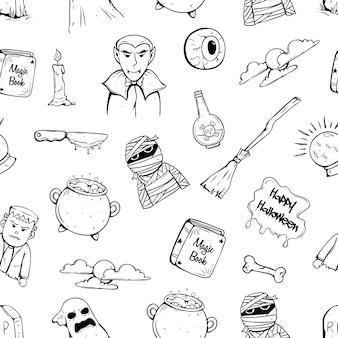 Doodle ícones de halloween no padrão sem emenda com caráter de halloween e atributo
