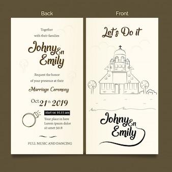 Doodle igreja convite cartão casamento