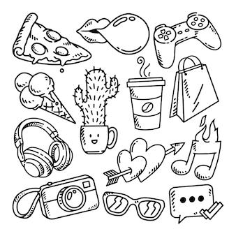 Doodle ilustração conjunto adolescente