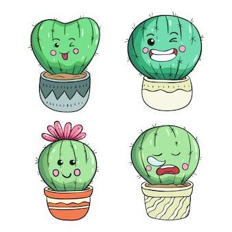 Doodle ilustração de cacto bonito com rosto kawaii ou expressão
