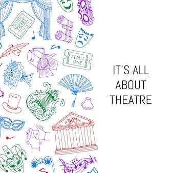Doodle ilustração de fundo de elementos de teatro com lugar para texto
