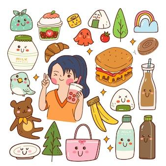 Doodle kawaii de comida e bebida