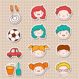 Doodle kids faces icons