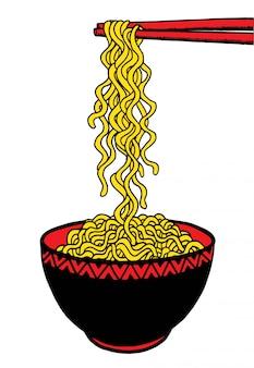 Doodle macarrão na tigela e pauzinho