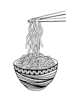 Doodle macarrão na tigela e pauzinhos. desenho à mão