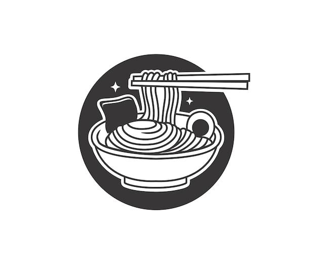 Doodle macarrão ramen em uma tigela