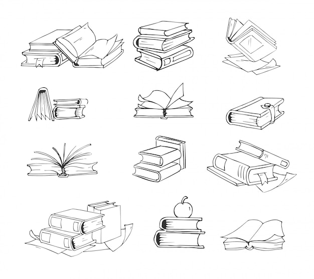 Doodle, mão desenhada esboço livros vector conjunto.