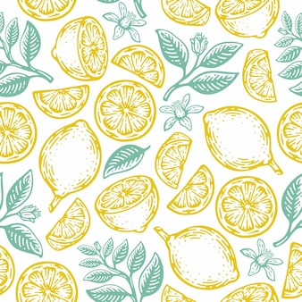 Doodle mão desenhada limão e padrão sem emenda de limão. estilo vintage de frutas cítricas de verão tropical.
