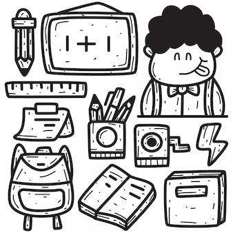 Doodle mão desenhando de volta para a escola