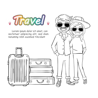 Doodle mão desenhar casal mulher e homem bonito dos desenhos animados viajante com bagagem no fundo branco.