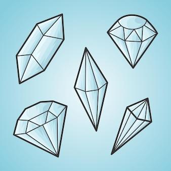 Doodle mão desenhar conjunto de diamantes, ilustração vetorial.