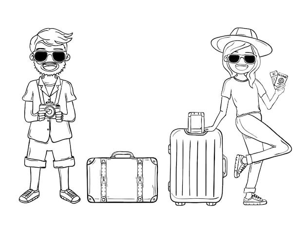 Doodle mão desenhar homem mulher bonito dos desenhos animados viajante com bagagem