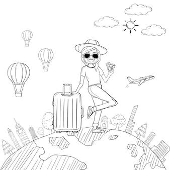 Doodle mão desenhar mulher bonito dos desenhos animados viajante com bagagem
