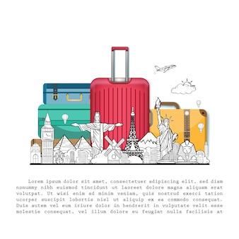 Doodle mão desenhar viajante com bagagem. acessórios de viagem de ponto de verificação de avião em todo o mundo no design de plano de fundo.