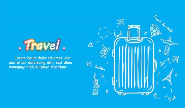 Doodle mão desenhar viajante com bagagem. acessórios de viagem de ponto de verificação de avião em todo o mundo.