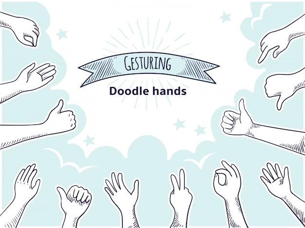 Doodle mãos como antipatia. cliente feliz mão conceito desenhado, polegar para cima e discordo de esboço de negócios. cliente antigo assina conjunto de pontos de opinião