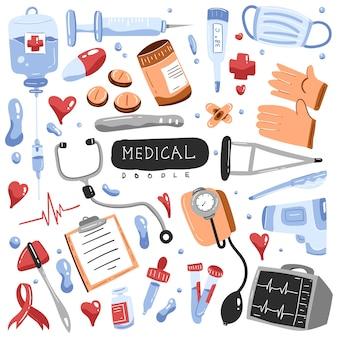Doodle médico colorido