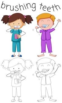 Doodle menino e menina escovando os dentes