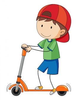 Doodle menino jogando pontapé scooter